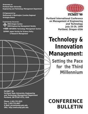 Technology & Innovation Management: - PICMET Conference