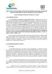 Edital de Leilão - Ministério da Previdência Social
