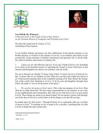 """""""You Will Be My Witnesses"""" A Pastoral Letter to People of God of ..."""