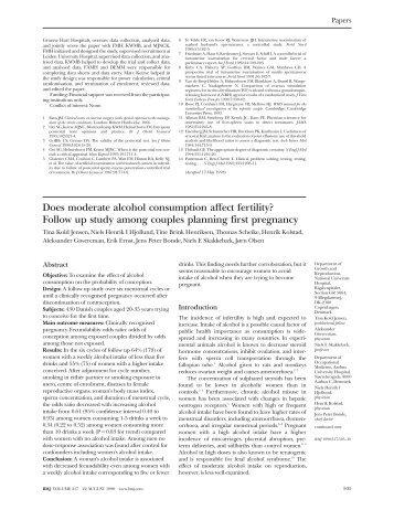 Does moderate alcohol consumption affect fertility? Follow up ... - IAS