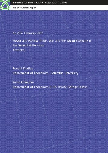 Power and Plenty: Trade, War and the World Economy in the ...