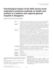 Psychological impact of the 2003 severe acute respiratory syndrome ...