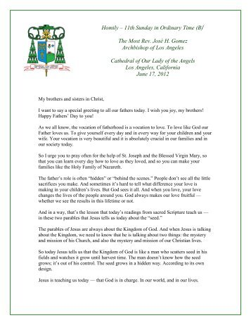 Homily: 11th Sunday in Ordinary Time - Archdiocese of Los Angeles