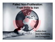 Failed Non Failed Non-Proliferation: Proliferation: From India to Iran