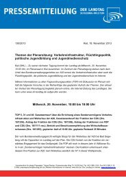 Themen der Plenarsitzung: Verkehrsinfrastruktur, Flüchtlingspolitik ...