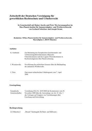 Heft 3 / 2001, März - Max-Planck-Institut für Immaterialgüter