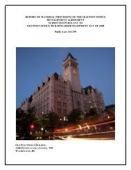 report of material provisions of the old post office development ...