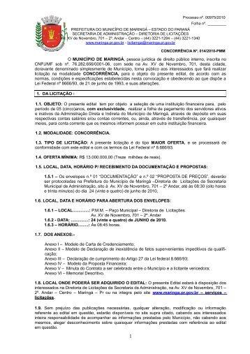 edital - Maringá - Estado do Paraná