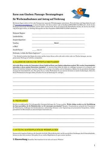 Kurse zum Glauben: Planungs-/Beratungsbogen für ...