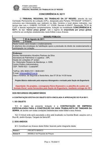 Contratação de empresa especializada para a construção da Vara ...