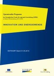 Entwurf des Operationelles Programms EFRE für die ... - RegioWIN