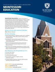MONTESSORI EDUCATION – Xavier University – Cincinnati, Ohio