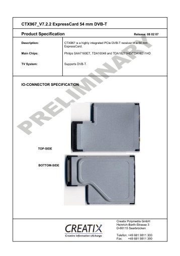 CTX967 V7.2.2 Expresscard 54 mm DVB-T Product ... - creatix