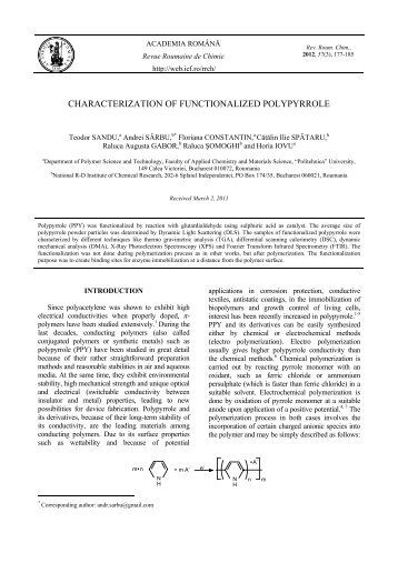 characterization of functionalized polypyrrole - ResearchGate