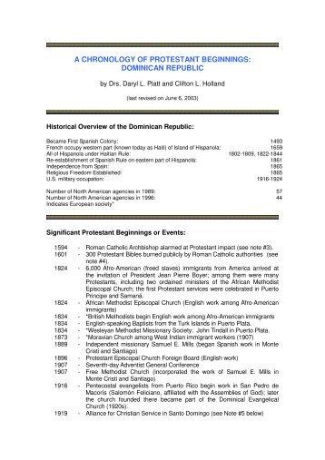 A Chronology of Protestant Origins - Prolades.com