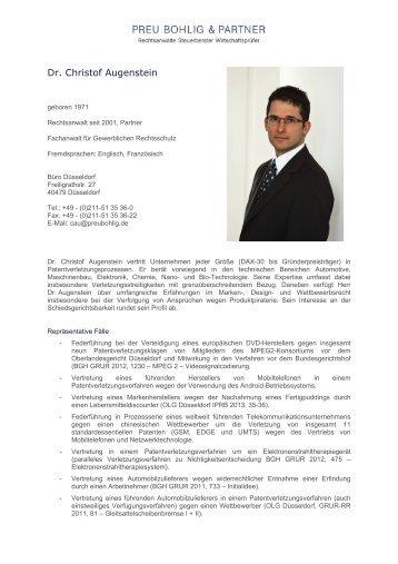 Dr. Christof Augenstein - Preu Bohlig & Partner