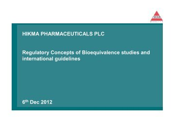 HIKMA PHARMACEUTICALS PLC Regulatory ... - Pharmacies.ma