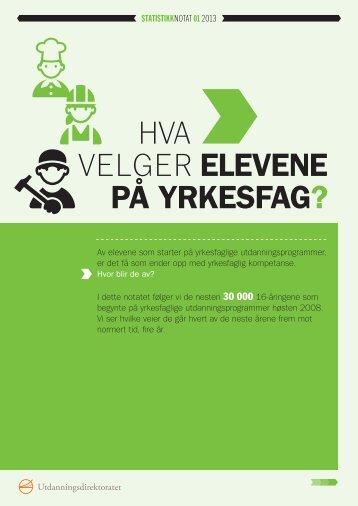 HVA VELGER ELEVENE PÅ YRKESFAG? - Udir.no