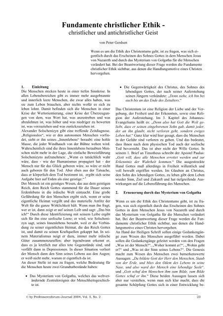 Fundamente christlicher Ethik - - Professorenforum