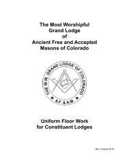 Uniform Floor Work - Grand Lodge of Colorado