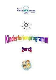 Broschüre des diesjährigen Kinderferienprogramms - Kieselbronn