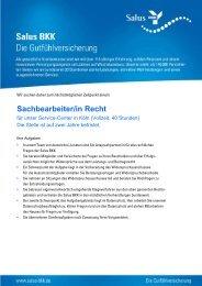 Sachbearbeiter_in_ Bereich Recht 06 06 2013 - Salus BKK