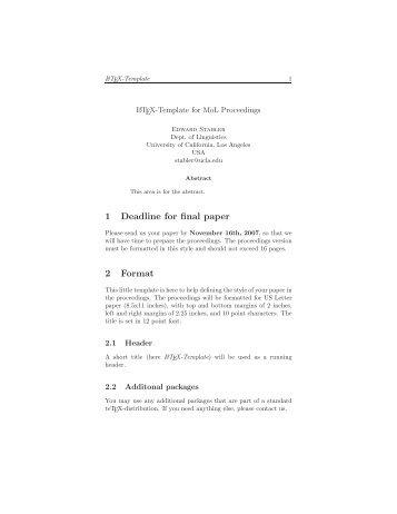 1 Deadline for final paper 2 Format