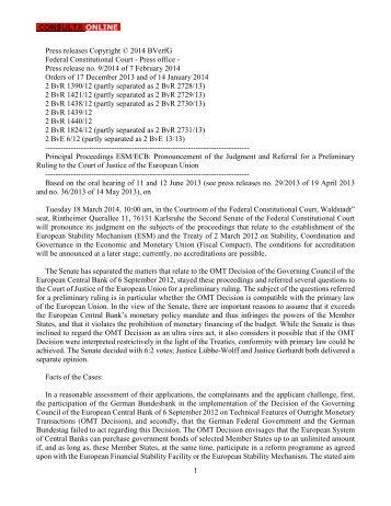 1 Press releases Copyright © 2014 BVerfG ... - Consulta Online