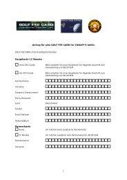 Antrag für eine GOLF FEE CARD für Conley´s Golfer - Conley's