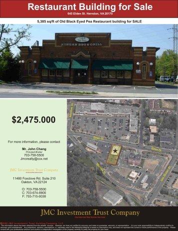 645 Elden St. Herndon, VA 22170 - JMC Investment Trust Company