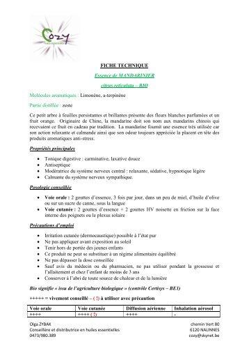 FICHE TECHNIQUE Essence de MANDARINIER ... - COZY Belgique