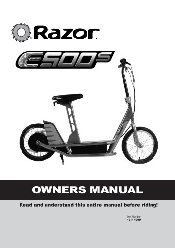 Owners Manual E500s - V is for Voltage