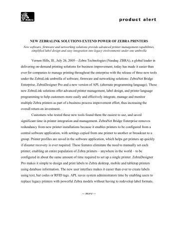 New ZebraLink Solutions Extend Power of Zebra Printers