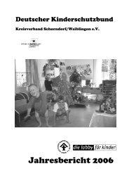 Jahresbericht 2006 - Deutscher Kinderschutzbund Schorndorf ...