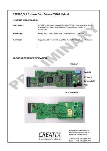 CTX967 V.2 Expresscard 54 mm DVB-T Hybrid Product ... - Creatix