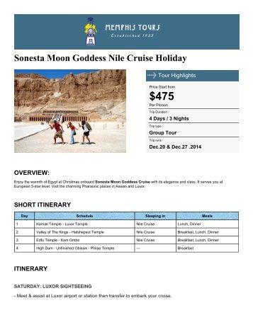 Sonesta Moon Goddess Nile Cruise Holiday - Memphis Tours Egypt