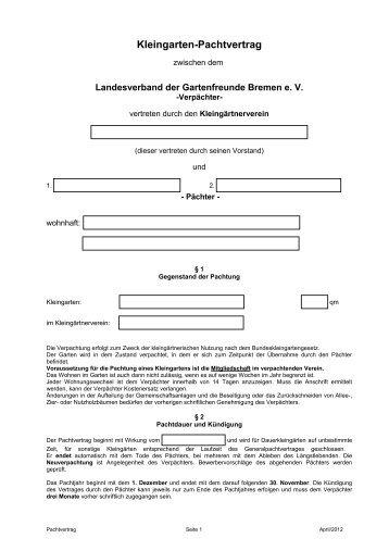 kleingarten pachtvertrag gartenfreunde bremen - Pachtvertrag Garten Muster