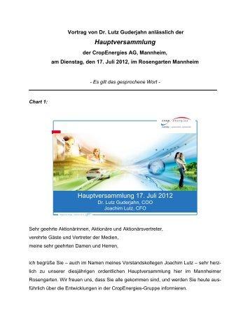 Hauptversammlung - Cropenergies