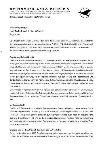 Transponder Mode S - Daec Deutscher Aeroclub