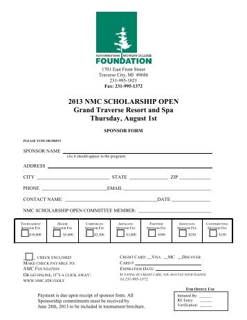 Printable Sponsorship Form (PDF)   Northwestern Michigan College  Printable Sponsor Forms