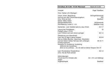 Christfest, 25.12.08 - 10 Uhr Wannweil Stand 24.12.08 Vorspiel ...