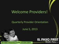 For June 5, 2013 - El Paso First Health Plans, inc.