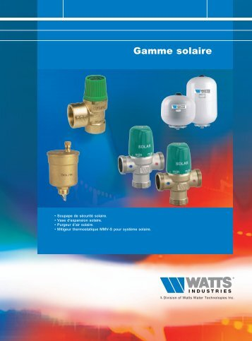 Gamme solaire - Watts Industries