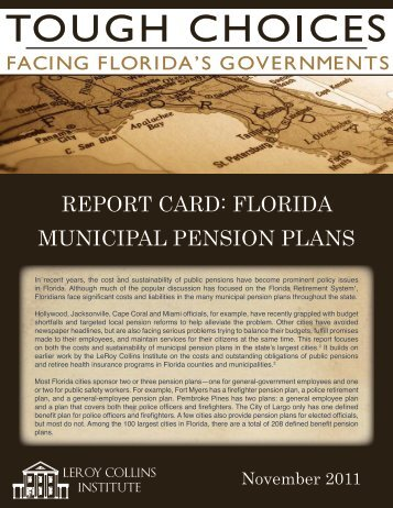 report card: florida municipal pension plans - Florida League of Cities