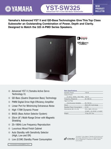 Yamaha YST-SW325B - Manual - Sound Group Holdings