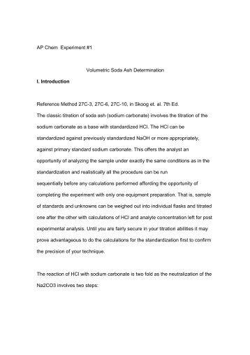 determination of sodium carbonate