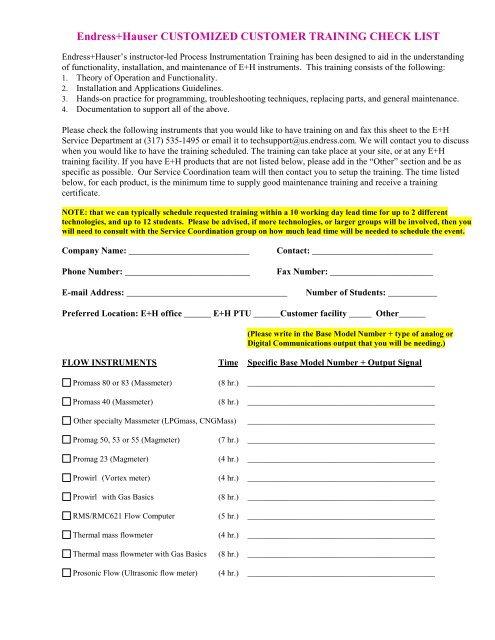 Customized Customer Training Checklist (PDF     - Endress+Hauser