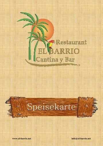 Speisekarte - El Barrio Cantina y Bar