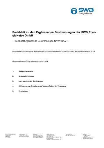 Preisblatt Ergänzende Bestimmungen (gültig ab dem 01.01.2014)