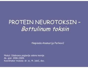 Protein neurotoksin Bottulinum toksin, Anamarija Perković - PBF